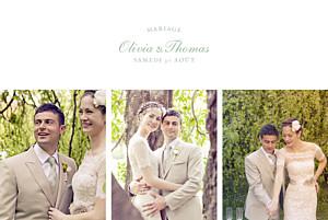 Carte de remerciement mariage vert mille fougères vert