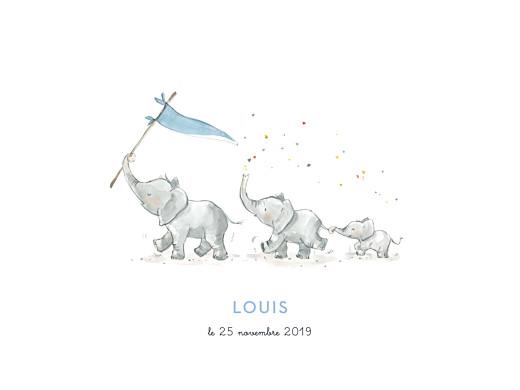 Affichette 3 éléphants en famille bleu