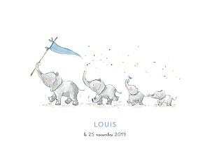 Affichette 4 éléphants en famille bleu