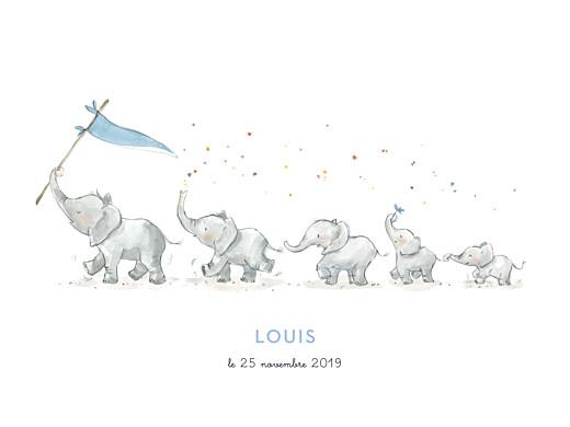 Affichette 5 éléphants en famille bleu - Page 1
