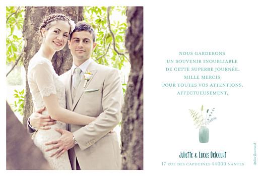 Carte de remerciement mariage Bouquet sauvage photo rose