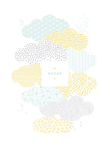 Affiche blanc sur un petit nuage mixte
