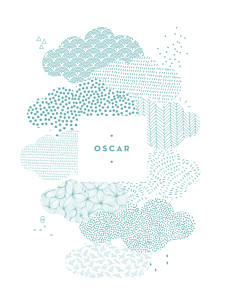 Affichette bleu sur un petit nuage bleu