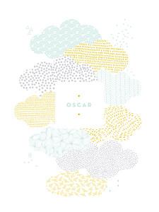 Affichette fille sur un petit nuage mixte