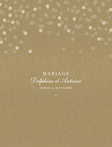 Faire-part de mariage traditionnel polka portrait kraft