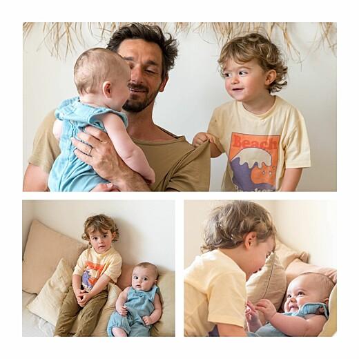 Faire-part de naissance Petits habits 4 pages bleu gris - Page 2