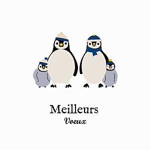 Carte de voeux beige petits pingouins blanc