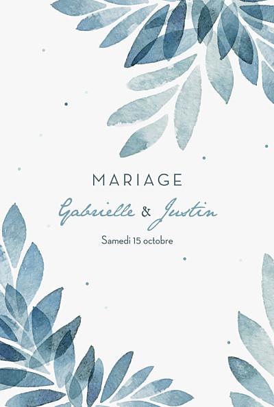 Faire-part de mariage Nuit d'été (dorure) bleu finition