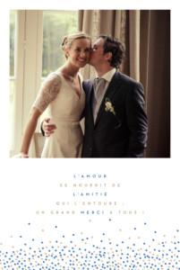 Carte de remerciement mariage Confetti bleu & blanc