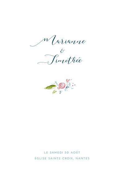 Livret de messe mariage Journée de printemps blanc finition