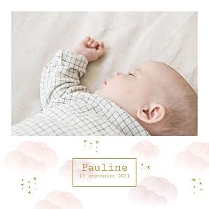 Faire-part de naissance fille brume rose