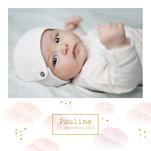 Faire-part de naissance mr & mrs clynk  brume rose