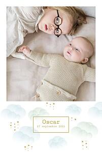 Faire-part de naissance brume (portrait) bleu