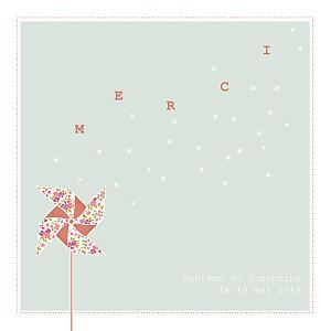Carte de remerciement Moulin à vent photo (carré) vert