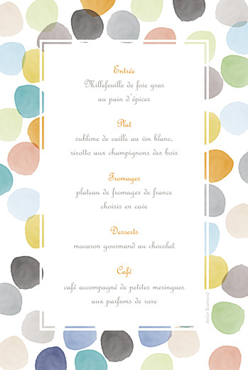 Menu de baptême Aquarelle orange - Page 2