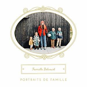 Carte de voeux jaune portraits de famille jaune