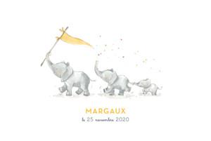 Faire-part de naissance 3 éléphants en famille rv jaune