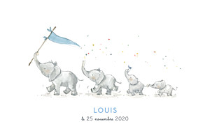 Faire-part de naissance blanc 4 éléphants en famille rv bleu