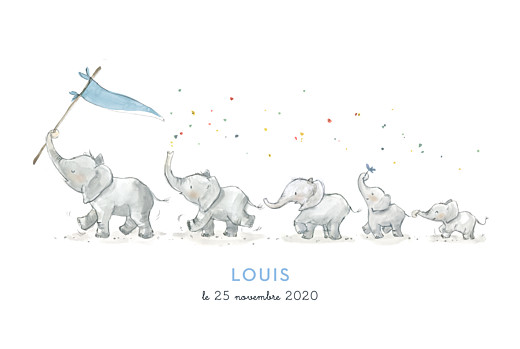 Faire-part de naissance 5 éléphants en famille rv bleu