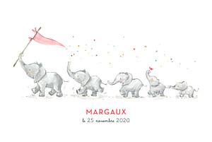 Faire-part de naissance rouge 5 éléphants en famille rv rose