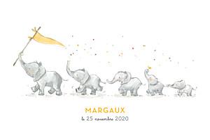 Faire-part de naissance orange 5 éléphants en famille rv jaune