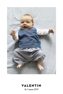 Faire-part de naissance Dandy chic 1 photo (dorure) blanc