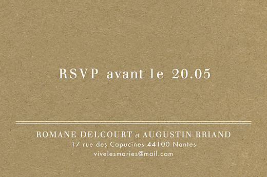 Carton d'invitation mariage L'essentiel kraft & bleu-violet - Page 2