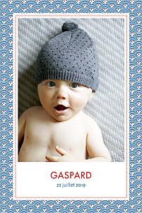 Faire-part de naissance tomoë  pattern portrait 2 photos rouge bleu