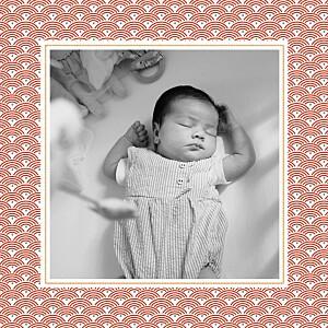 Faire-part de naissance rouge pattern 2 photos rouge