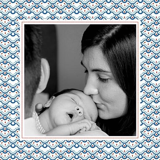 Faire-part de naissance Pattern 2 photos rouge bleu - Page 2