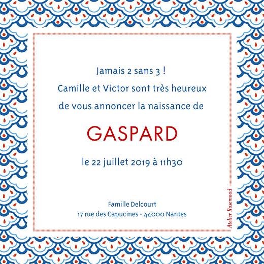 Faire-part de naissance Petit pattern (triptyque) bleu, blanc & rouge - Page 2