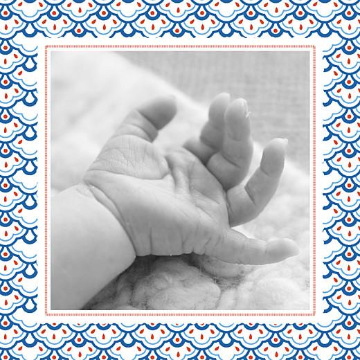 Faire-part de naissance Petit pattern (triptyque) bleu, blanc & rouge - Page 4