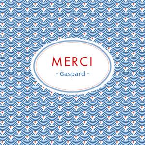 Carte de remerciement Merci pattern écusson bleu, blanc & rouge