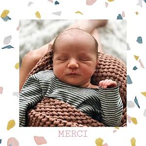 Carte de remerciement Petit granite rose & ocre