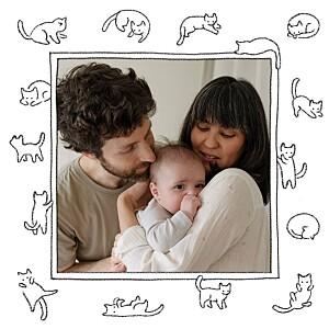 Carte de remerciement Petit chaton blanc