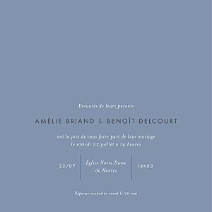 Faire-part de mariage bleu lettres d'amour (dorure) bleu