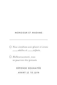 Carton réponse mariage blanc lettres d'amour (dorure) blanc