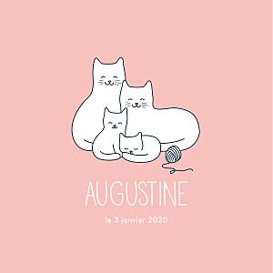 Faire-part de naissance rose quatre petits chats rose
