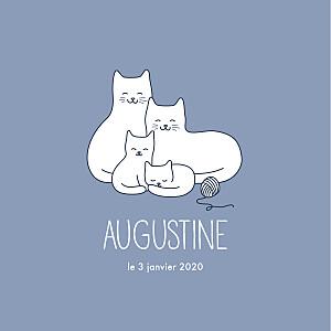 Faire-part de naissance gris quatre petits chats bleu-gris