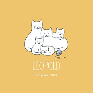 Faire-part de naissance original cinq petits chats jaune