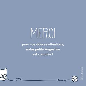 Carte de remerciement animaux merci petit chat bleu-gris