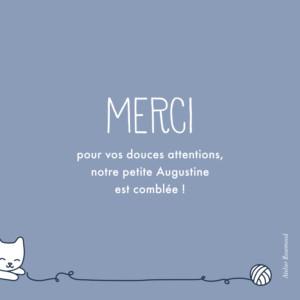 Carte de remerciement Merci petit chat bleu-gris