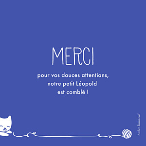 Carte de remerciement Merci petit chat bleu