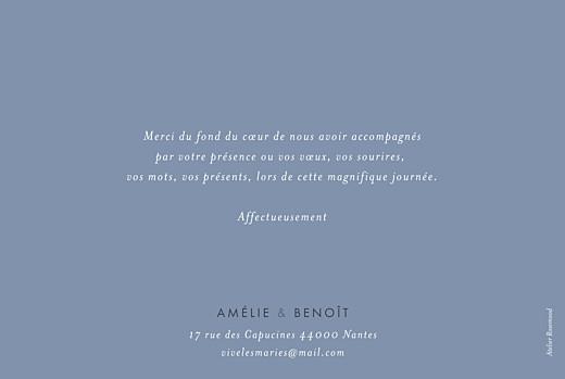 Carte de remerciement mariage Lettres d'amour (dorure) bleu - Page 2