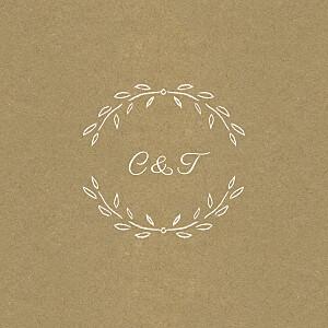 Carton d'invitation mariage marron poème kraft