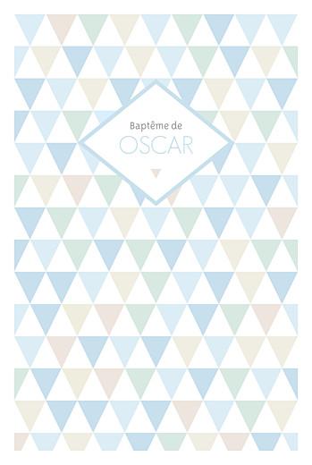 Menu de baptême Triangles bleu