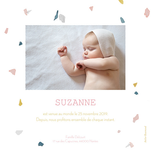 Faire-part de naissance Granite rv rose & ocre - Page 2