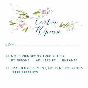 Carton réponse mariage bleu journée de printemps (carré) blanc