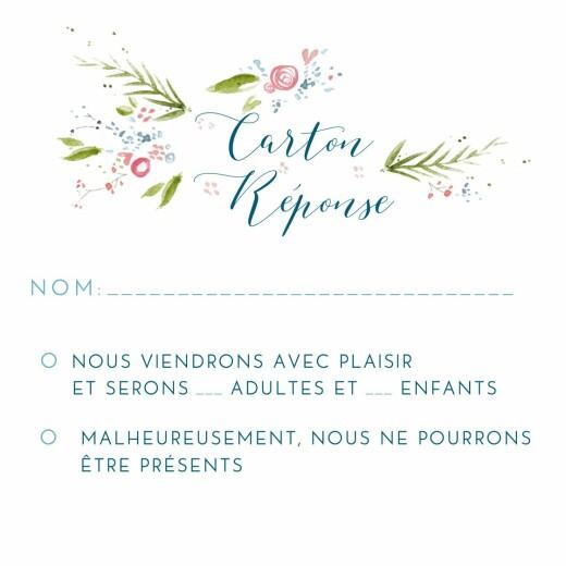 Carton réponse mariage Journée de printemps (carré) blanc