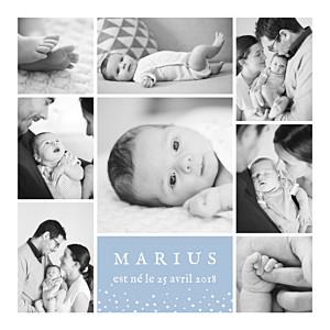 Faire-part de naissance Souvenir étoilé 8 photos bleu
